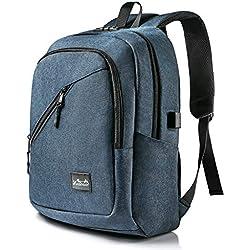 Viedouce Mochila para Portátiles Escolares,Mochilas Antirrobo Impermeable,Daypacks con Puerto de Carga USB & Puerto de Auriculares,Negocio Mochila Portátil para Hombre Mujer (Azul-15.6 Pulgadas)