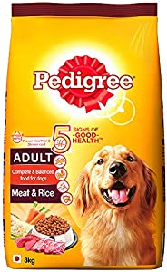 Pedigree Adult Dry Dog Food, Meat & Rice, 3kg