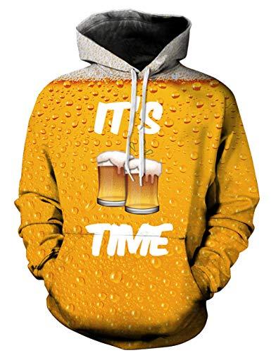 Goodstoworld Coole 3D Oktoberfest Bier Pullover Männer Damen It is Beer time Druck Langarm Hoodie Pullover Sweatshirt Kapuze Jersey -