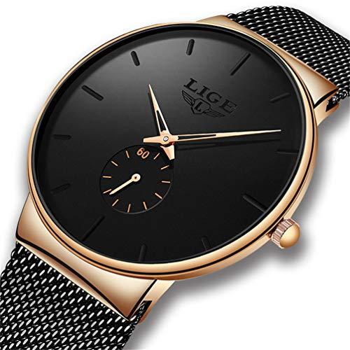 LIGE Reloj para Hombres,Relojes Deportivo de Cuarzo analógico Impermeable para Hombre Lujoso,Sencillo Reloj Ultra Delgado Moda Casual Reloj Redondo Negro
