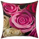 Bari BRANDSSELLER Outdoor Dekokissen Gartenkissen Blumen2 Loungekissen - Reißverschluss - Photoprint - Wasser und Schmutzabweisend - Größe: 45 x 45 cm - Rose