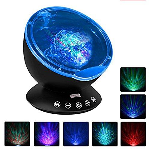 Fipart Fernbedienung mit einem eingebauten Musik-Player Wellen der Projektor 12 LED-Lampe Perlen und 7 Modi Wohnzimmer und Schlafzimmer Beleuchtung(Schwarz) (Tragbare Tisch-projektor-bildschirm)