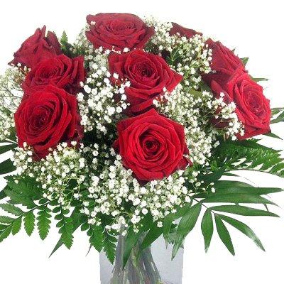 Blumenstrauß rote Rosen mit Schleierkraut und Schnittgrün – 10x XL Blüten Red Naomi