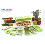 Vivir® Galaxy Vegetable Cutter & Chopper - Fruit Cutter - Cheese Shredder - Vegetable Grater - Vegetable Slicer - Chips Maker - French Fries Maker - Best Kitchen Tool - Unbreakable Poly-Carbonate Body - 100% Virgin A Grade Plastic - High Grade Rus