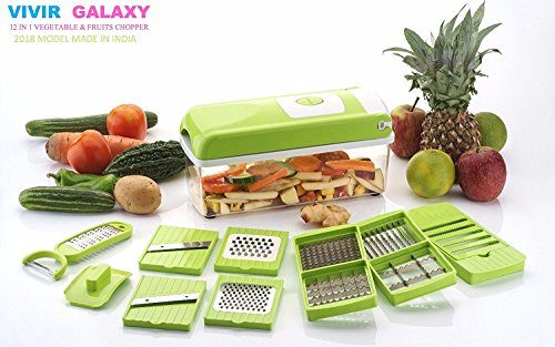 Vivir® Galaxy Vegetable Cutter & Chopper - Fruit Cutter - Cheese Shredder - Vegetable Grater - Vegetable Slicer - Chips maker - French Fries maker - Best Kitchen Tool - Unbreakable Poly-Carbonate Body - 100% Virgin A Grade Plastic - High Grade Rust Free Stainless Steel Blades - 12 BLADES WITH PEELER - EASY PUSH & CLEAN SYSTEM - ABS FOOD GRADE MATERIAL - INTERNATIONAL DESIGN