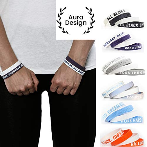 Aura Design Armband für Damen & Herren | Ultra Violett & Weiß | Good Vibes. Everyday, All Day. | Sportarmband | Silikonarmband | Fitness Armband | 4 Armbänder