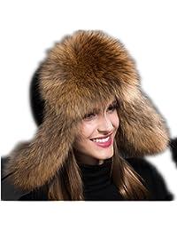 Ladies Real de piel de zorro ruso Cossack estilo invierno cálido gorro gorra de esquí raccoon