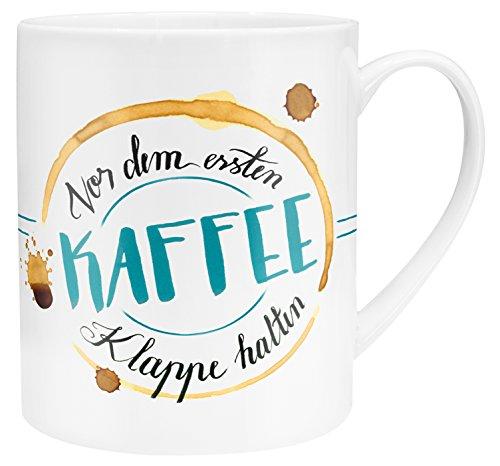 Die Geschenkewelt 45399 XL-Tasse mit Spruch Vor dem ersten Kaffee Klappe halten, Porzellan, in Geschenk-Verpackung, 60 cl