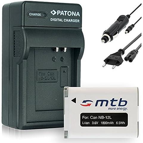 Baterìa + Cargador (Coche/Corriente) NB-12L para Canon PowerShot G1 X Mark II / N100 / LEGRIA VIXIA Mini X (3.6V - 1800mAh - con INFOCHIP)