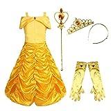 YiZYiF Mädchen Kostüm Prinzessin Kleid Drop Shoulder Cosplay Kostüm Karneval Fasching Kinderkostüme Sets Partykleid Ballkleid Festliches Kleid 4PCS 122-128 (Herstellersgröße: 140)