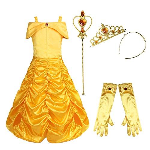 (dPois Mädchen 4Pcs/5Pcs Prinzessin Kleid Belle Kostüm Märchen Kostüm Kleinkind Festlich Outfit Set Zubehör Karneval Fasching Kostüm Gr.86-140 ohne 1Pc Halskette 110-116/5-6 Jahre)