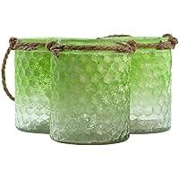 half-green smerigliato vetro Testurizzato e juta Candele o vasi, Vetro, Green
