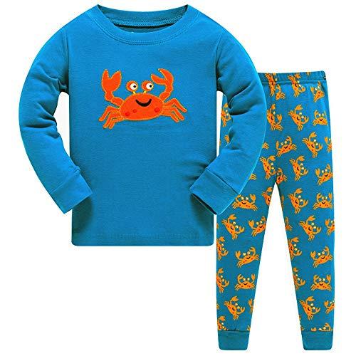 HIKIDS Jungen Schlafanzug Krabbe Herbst Winter Pyjamas Set Kinder Langarm Nachtwäsche 2 Stücke Bekleidung 134