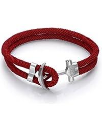 Italienisches Herren Armband in rot, mit Anker. Luca Barra DBA893. Wasser Sport, Segeln, Mode, Schmuck