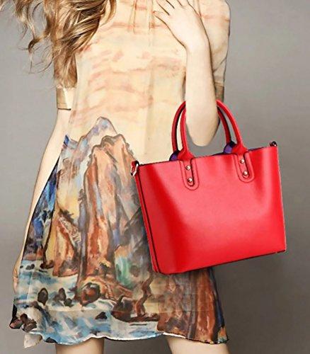 Baymate Damen Entzückende Handtaschen Schulter Beuteltote Set Rot
