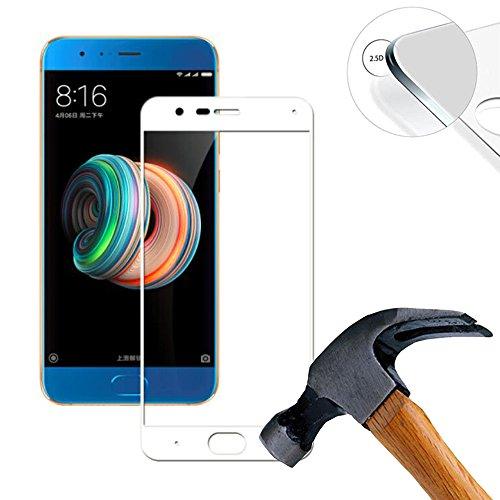 2 x Pack (cobertura completa) de Pantalla, Cristal Templado para Xiaomi Mi Note 3 5.5, Vidrio Templado con 9H Dureza Alta (blanc)