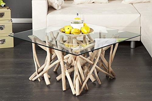 DuNord Design Table Basse Table d'appoint Algarve Bois flotté schwemmholz Massif Naturel Table en Verre