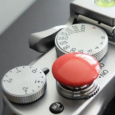 Métallique Soft Déclencheur en rouge (convexe, 16mm) pour Leica M-Serie, Fuji X100, X100S, X100T, X10, X20, X30, X-Pro1, X-Pro2, X-E1, X-E2, X-E2S et tous les appareils photos avec la bouche filetage conique