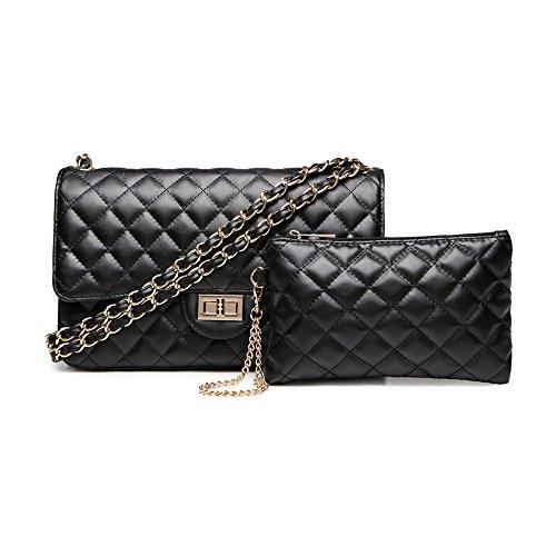 SHRJJ Handtaschen Messenger Tasche Lingge Kette Paket Schulter Mode Mini Tasche Geldbörse 2 PCS Set Tasche Baby Wickeltaschen,C1-27*18*9cm -