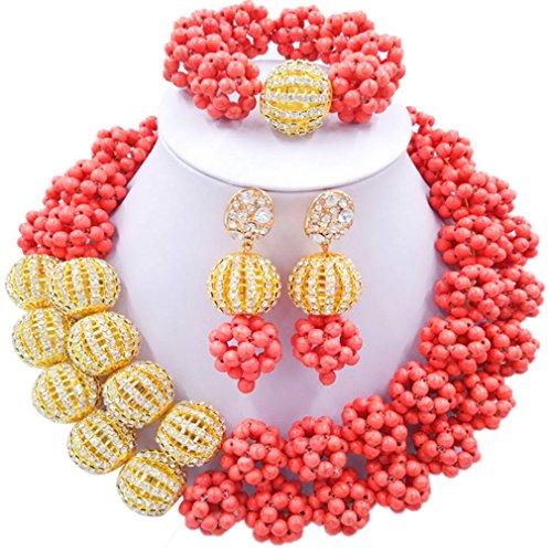 Laanc 2rows Rouge Collier de perles Turquoise et strass Doré du Nigeria africain Bijoux Femme Définit Mandarin Red and Rhinestone Gold