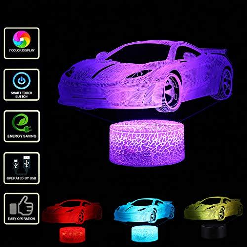 Liqiqi 3D Illusion Lampe Auto | LED Optische Täuschung Nachtlicht mit Batterie | 7 Farben Berührungsschalter USB Tischlampe | Geschenk für Kinder (❤️ Weiß Base)