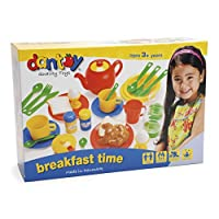 Dantoy Breakfast Time Set, Role Play Tea and Food with 34 Pieces Pretend Play for Kids - Made in Denmark