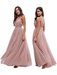 ASOS EX Premium Rosa Oscuro Tul asimétrico Dama de Honor Boda Vestido Largo 65 ...