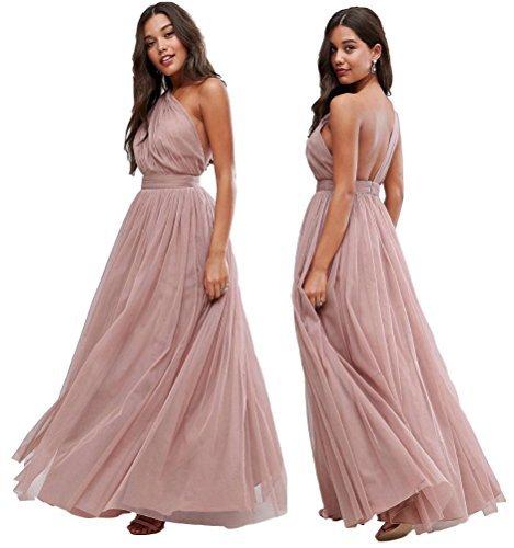 ASOS Ex Premium Altrosa Tüll Einschultrig Brautjungfern Hochzeit Maxi Kleid 65 6-18 - Rosa, 6
