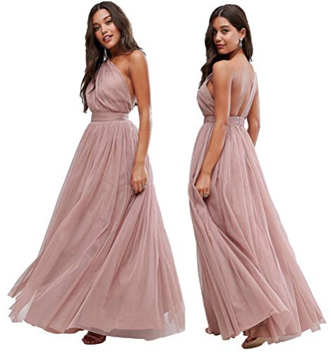 ASOS EX Premium Rosa Oscuro Tul asimétrico Dama de Honor Boda Vestido Largo 65 6-18 - Rosa, 10
