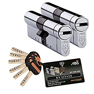Pair Of Keyed Alike Avocet ABS High Security Euro Cylinder - Anti Snap Lock - TS007 3 Star 40mm(INT) x 65mm(EXT) (Chrome)