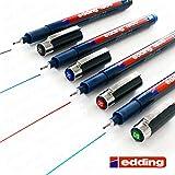 Edding 1800Profipen Pigment Liner–Bolígrafo de dibujo 0,5mm, 4unidades), color negro, azul, rojo, y verde]