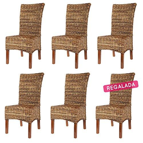 Rotin Design REBAJAS : -66% 6 sillas de ratan Elips marrones, modernas y baratas para comedor