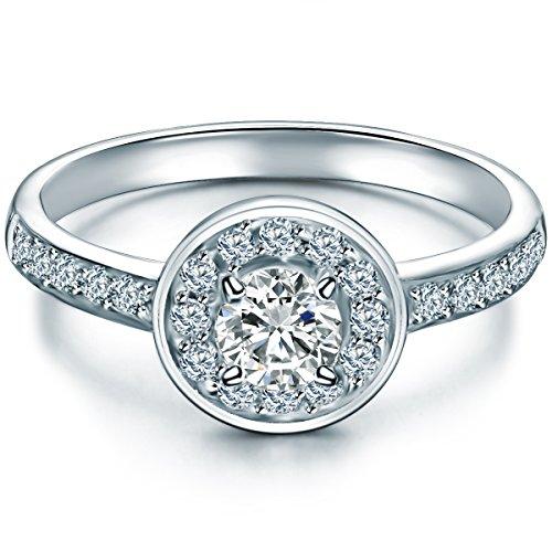 ng Sterling Silber Zirkonia weiß im Brillantschliff - Verlobungsring Silberring Damen mit Stein Antragsring (Ring Weiß Stein)