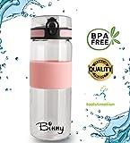 Trinkflasche BINNY 820 ml | Sport-Trinkflasche aus Tritan | BPA frei umweltschonend und auslaufsicher | Wasserflasche für Fitness, Freizeit, Büro, Schule, Yoga, Jogging, Camping, Outdoor | FLIP-OPEN Deckel - 1-Click Öffnung, inkl. Trageschlaufe und Fruchtsieb für Deine Getränke