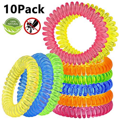 Beikell bracciale antizanzare [10 pezzi], braccialetto repellente per zanzare deet free e privi di sostanze tossiche o nocive, con citronella ed impermeabile, per adulti e bambini