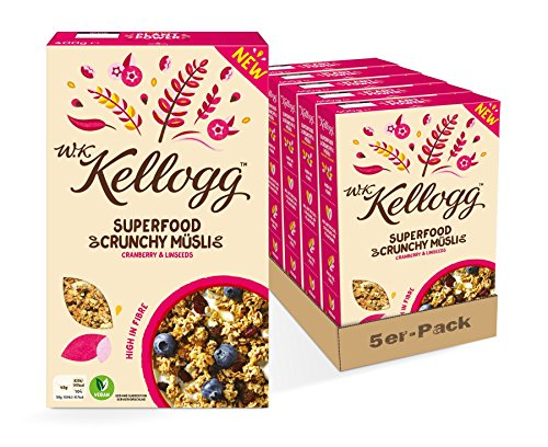 W.K Kellogg Superfood Crunchy Müsli Cranberry & Linseeds, 5er Pack (5 x 400 g) -
