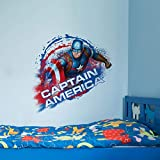 Asian Paints Wall Ons, Captain America' Decal, DIY Removable Peel and Stick Wall