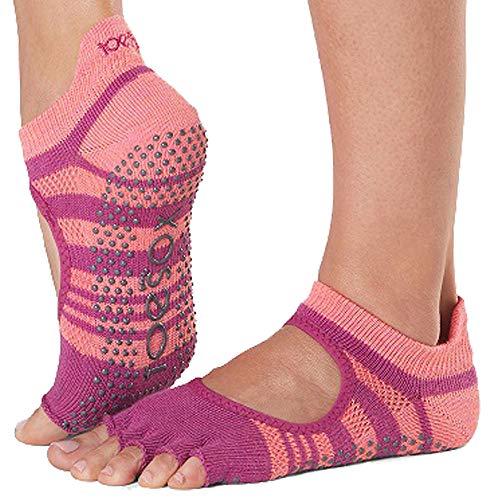 Toesox Damen Grip Pilates Barre Socks-Non-Slip Bellarina Half Toe for Yoga & Ballet, POP, Größe S