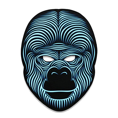 JK Sound Reactive LED Maske, beleuchtet Musik Maske, gruselige Cool Light Maske für Festival, Party, Halloween, Karneval, Tanzball, Maskenaden, Cosplay DJ Maske one size for all King