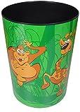 Läufer 26910 Papierkorb für Kinderzimmer Motiv Happy Jungle, Tiere im Dschungel 13 Liter Mülleimer oder Sammelbox, rund, stabiler Kunststoff