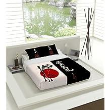 TSUKI Juego Funda Nórdica NAGASAKI cama 90 negro / blanco / rojo / Zen Chillout