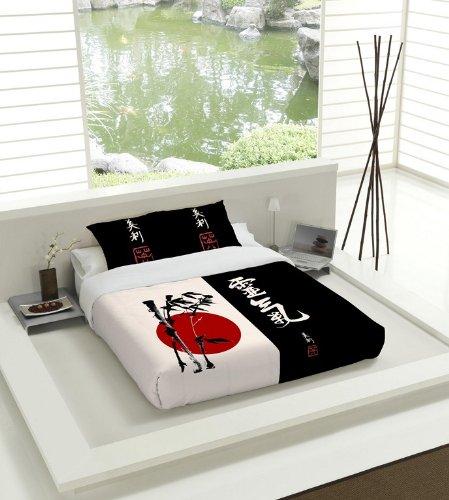 TSUKI Juego Funda Nórdica NAGASAKI cama 135 negro / blanco / rojo / Zen Chillout
