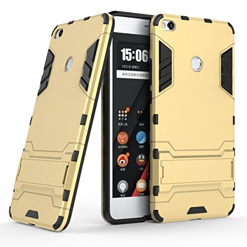 XiaoMi Mi Max 2 Funda, SMTR Ultra Silm Híbrida Rugged Armor Case Choque Absorción Protección Dual Layer Bumper Carcasa con pata de Cabra para XiaoMi Mi Max 2 ,dorado
