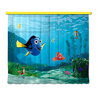 Disney AG Design Nemo Kids Curtains/3D Photo Print, Fabric Multi-Colour, 180 x 160 cm /71 x 63 inches