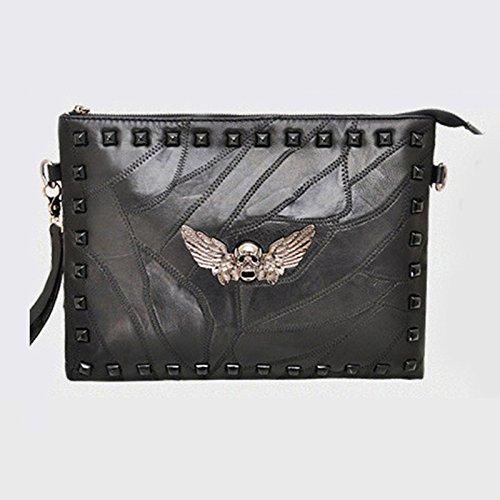 Zarapack pochette donna in vera pelle, 2cinghie di maniglia borsa a tracolla e borsetta, Feather Skull L (Nero) - BA936 Feather Skull L