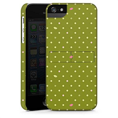 Apple iPhone 5s Housse Étui Protection Coque Points Vert Motif CasStandup blanc