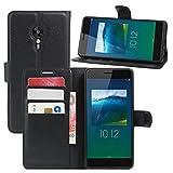 HualuBro Lenovo ZUK Z2 Pro Hülle, Premium PU Leder Leather Wallet HandyHülle Tasche Schutzhülle Flip Case Cover für Lenovo ZUK Z2 Pro Smartphone (Schwarz)