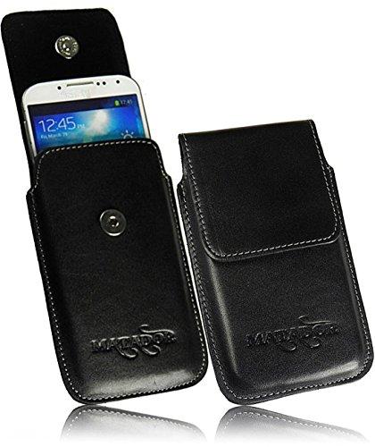 Exclusiv Slim Design Echt Ledertasche für Samsung GT-S8600 Wave 3 Handytasche Gürteltasche Vertikaltasche von Matador in Schwarz/Black mit Magnetverschluß und Gürtelclip/Gürtelschalufe (mit Ausziehhilfe)