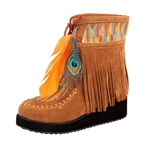 Innerternet Damen Schneestiefel Winter Damenmode Quaste Lace-up Warme Stiefeletten Beiläufige Retro Flache Boot Bestickte Stiefel (Vintage Shirt Bestickt Western)