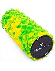 Rodillo para masaje miofascial, rodillo de espuma »Ishana« Graffiti New Style / Rodillo para masajes y terapias que facilita un automasaje efectivo / amarillo-verde